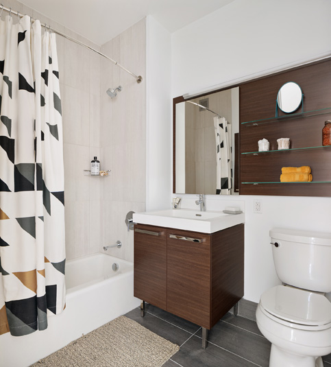 Interior gallery - 2 of 10 - Bathroom with high end sink toilet and shower at Eagle Lofts
