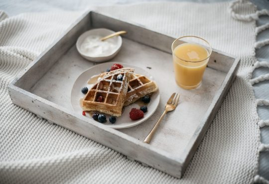 Interior gallery - 9 of 10 - Waffles And Berries With Orange Juice Breakfast In Bed